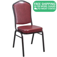 Advantage Oxblood Vinyl Crown Back Banquet Chair [CBBC-V-100]