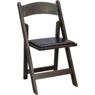 Advantage Wood Folding Wedding Chair - Antique Black [WFC-AB]