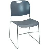 Advantage Gray High Density Stack Chair - Chrome Frame [HDSTK-Grey]