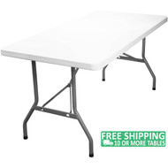 Advantage 8 ft. Rectangular White Plastic Folding Table [DAD-YCZ-244-GW-GG]