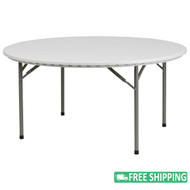 15-pack Advantage 5 ft. Round White Plastic Folding Tables [15-RB-60R-GG]