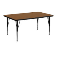 Advantage 24 in. x 48 in. Rectangular Adjustable Activity Table - Oak/Black [XU-A2448-REC-OAK-H-P-GG]