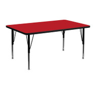 Advantage 24 in. x 48 in. Rectangular Adjustable Activity Table - Red/Black [XU-A2448-REC-RED-H-P-GG]