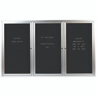 "Aarco Products 3 Door Enclosed Directory with Black Felt Letter Board and Aluminum Frame - 48""Hx72""W [ADC4872-3]"
