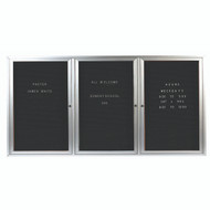 "Aarco Products 3 Door Enclosed Directory with Black Felt Letter Board and Aluminum Frame - 48""Hx96""W [ADC4896-3]"