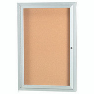 "Aarco Products 1 Door Enclosed Bulletin Board with Natural Pebble Grain Cork Back Panel and Aluminum Frame - 24""Hx18""W [DCC2418R]"