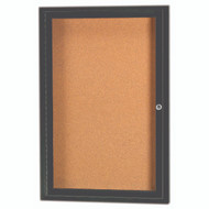 "Aarco Products 1 Door Enclosed Bulletin Board with Natural Pebble Grain Cork Back Panel and Bronze Anodized Aluminum Frame - 24""Hx18""W [DCC2418RBA]"