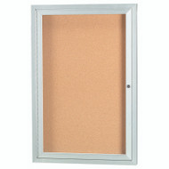"Aarco Products 1 Door Enclosed Bulletin Board with Natural Pebble Grain Cork Back Panel and Aluminum Frame - 36""Hx24""W [DCC3624R]"