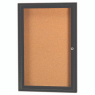"Aarco Products 1 Door Enclosed Bulletin Board with Natural Pebble Grain Cork Back Panel and Bronze Anodized Aluminum Frame - 36""Hx24""W [DCC3624RBA]"