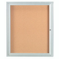"Aarco Products 1 Door Enclosed Bulletin Board with Natural Pebble Grain Cork Back Panel and Aluminum Frame - 36""Hx30""W [DCC3630R]"