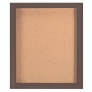 "Aarco Products 1 Door Enclosed Bulletin Board with Natural Pebble Grain Cork Back Panel and Bronze Anodized Aluminum Frame - 36""Hx30""W [DCC3630RBA]"