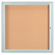 "Aarco Products 1 Door Enclosed Bulletin Board with Natural Pebble Grain Cork Back Panel and Aluminum Frame - 36""Hx36""W [DCC3636R]"