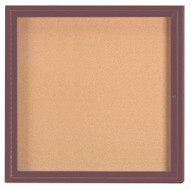 "Aarco Products 1 Door Enclosed Bulletin Board with Natural Pebble Grain Cork Back Panel and Bronze Anodized Aluminum Frame - 36""Hx36""W [DCC3636RBA]"