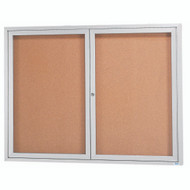"Aarco Products 2 Door Enclosed Bulletin Board with Natural Pebble Grain Cork Back Panel and Aluminum Frame - 36""Hx48""W [DCC3648R]"