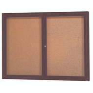 "Aarco Products 2 Door Enclosed Bulletin Board with Natural Pebble Grain Cork Back Panel and Bronze Anodized Aluminum Frame - 36""Hx48""W [DCC3648RBA]"
