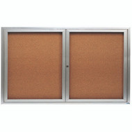 "Aarco Products 2 Door Enclosed Bulletin Board with Natural Pebble Grain Cork Back Panel and Aluminum Frame - 36""Hx60""W [DCC3660R]"