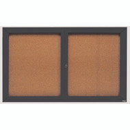 "Aarco Products 2 Door Enclosed Bulletin Board with Natural Pebble Grain Cork Back Panel and Bronze Anodized Aluminum Frame - 36""Hx60""W [DCC3660RBA]"