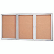 "Aarco Products 3 Door Enclosed Bulletin Board with Natural Pebble Grain Cork Back Panel and Aluminum Frame - 36""Hx72""W [DCC3672-3R]"