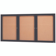 "Aarco Products 3 Door Enclosed Bulletin Board with Natural Pebble Grain Cork Back Panel and Bronze Anodized Aluminum Frame - 36""Hx72""W [DCC3672-3RBA]"