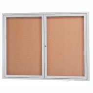 "Aarco Products 2 Door Enclosed Bulletin Board with Natural Pebble Grain Cork Back Panel and Aluminum Frame - 48""Hx60""W [DCC4860R]"