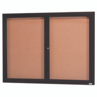 "Aarco Products 2 Door Enclosed Bulletin Board with Natural Pebble Grain Cork Back Panel and Bronze Anodized Aluminum Frame - 48""Hx60""W [DCC4860RBA]"