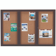 "Aarco Products 3 Door Enclosed Bulletin Board with Natural Pebble Grain Cork Back Panel and Bronze Anodized Aluminum Frame - 48""Hx72""W [DCC4872-3RBA]"
