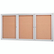 "Aarco Products 3 Door Enclosed Bulletin Board with Natural Pebble Grain Cork Back Panel and Aluminum Frame - 48""Hx96""W [DCC4896-3R]"