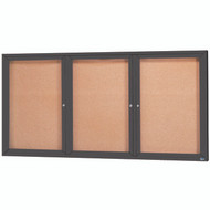 "Aarco Products 3 Door Enclosed Bulletin Board with Natural Pebble Grain Cork Back Panel and Bronze Anodized Aluminum Frame - 48""Hx96""W [DCC4896-3RBA]"