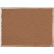 "Aarco Products Natural Pebble Grain Cork Bulletin Board with a Red Oak Frame - 36""Hx48""W [OB3648]"