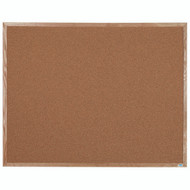 "Aarco Products Natural Pebble Grain Cork Bulletin Board with a Red Oak Frame - 48""Hx60""W [OB4860]"