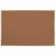 "Aarco Products Natural Pebble Grain Cork Bulletin Board with a Red Oak Frame - 48""Hx72""W [OB4872]"