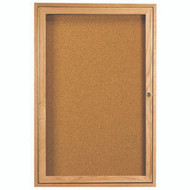 "Aarco Products 1 Door Enclosed Bulletin Board with Natural Pebble Grain Cork Back Panel and a Red Oak Frame - 24""Hx18""W [OBC2418R]"