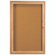 "Aarco Products 1 Door Enclosed Bulletin Board with Natural Pebble Grain Cork Back Panel and a Red Oak Frame - 36""Hx24""W [OBC3624R]"
