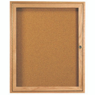 "Aarco Products 1 Door Enclosed Bulletin Board with Natural Pebble Grain Cork Back Panel and a Red Oak Frame - 36""Hx30""W [OBC3630R]"