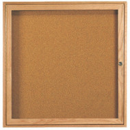 "Aarco Products 1 Door Enclosed Bulletin Board with Natural Pebble Grain Cork Back Panel and a Red Oak Frame - 36""Hx36""W [OBC3636R]"