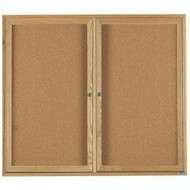 "Aarco Products 2 Door Enclosed Bulletin Board with Natural Pebble Grain Cork Back Panel and a Red Oak Frame - 36""Hx48""W [OBC3648R]"