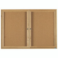 "Aarco Products 2 Door Enclosed Bulletin Board with Natural Pebble Grain Cork Back Panel and a Red Oak Frame - 36""Hx60""W [OBC3660R]"