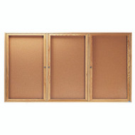 "Aarco Products 3 Door Enclosed Bulletin Board with Natural Pebble Grain Cork Back Panel and a Red Oak Frame - 36""Hx72""W [OBC3672-3R]"