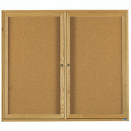 "Aarco Products 2 Door Enclosed Bulletin Board with Natural Pebble Grain Cork Back Panel and a Red Oak Frame - 48""Hx60""W [OBC4860R]"
