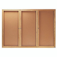 "Aarco Products 3 Door Enclosed Bulletin Board with Natural Pebble Grain Cork Back Panel and a Red Oak Frame - 48""Hx72""W [OBC4872-3R]"