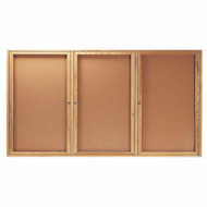 "Aarco Products 3 Door Enclosed Bulletin Board with Natural Pebble Grain Cork Back Panel and a Red Oak Frame - 48""Hx96""W [OBC4896-3R]"