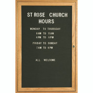 "Aarco Products 1 Door Enclosed Black Felt Changeable Letter Board with Red Oak Frame - 36""Hx24""W [ODC3624]"