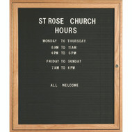 "Aarco Products 1 Door Enclosed Black Felt Changeable Letter Board with Red Oak Frame - 36""Hx30""W [ODC3630]"