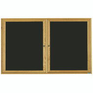 "Aarco Products 2 Door Enclosed Black Felt Changeable Letter Board with Red Oak Frame - 36""Hx60""W [ODC3660]"