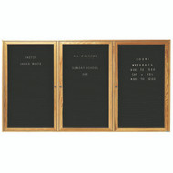 "Aarco Products 3 Door Enclosed Black Felt Changeable Letter Board with Red Oak Frame - 36""Hx72""W [ODC3672-3]"