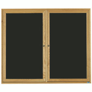 "Aarco Products 2 Door Enclosed Black Felt Changeable Letter Board with Red Oak Frame - 48""Hx60""W [ODC4860]"