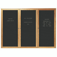 "Aarco Products 3 Door Enclosed Black Felt Changeable Letter Board with Red Oak Frame - 48""Hx72""W [ODC4872-3]"