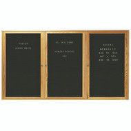 "Aarco Products 3 Door Enclosed Black Felt Changeable Letter Board with Red Oak Frame - 48""Hx96""W [ODC4896-3]"