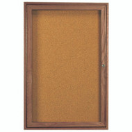 "Aarco Products 1 Door Enclosed Bulletin Board with Natural Pebble Grain Cork Back Panel and Walnut Stained Red Oak Frame - 24""Hx18""W [WBC2418R]"