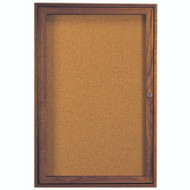 "Aarco Products 1 Door Enclosed Bulletin Board with Natural Pebble Grain Cork Back Panel and Walnut Stained Red Oak Frame - 36""Hx24""W [WBC3624R]"